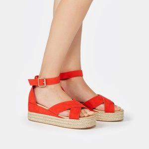 JustFab Elizaveta Wedge Grenadine Sandal NWOB 9M